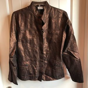 Chicos Brown Shimmer Coat Jacket Size 1